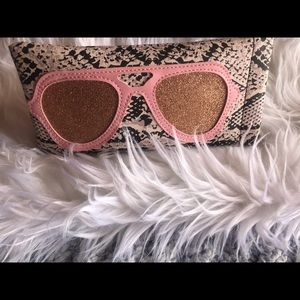Cute trendy snakeskin fabric eyeglass case